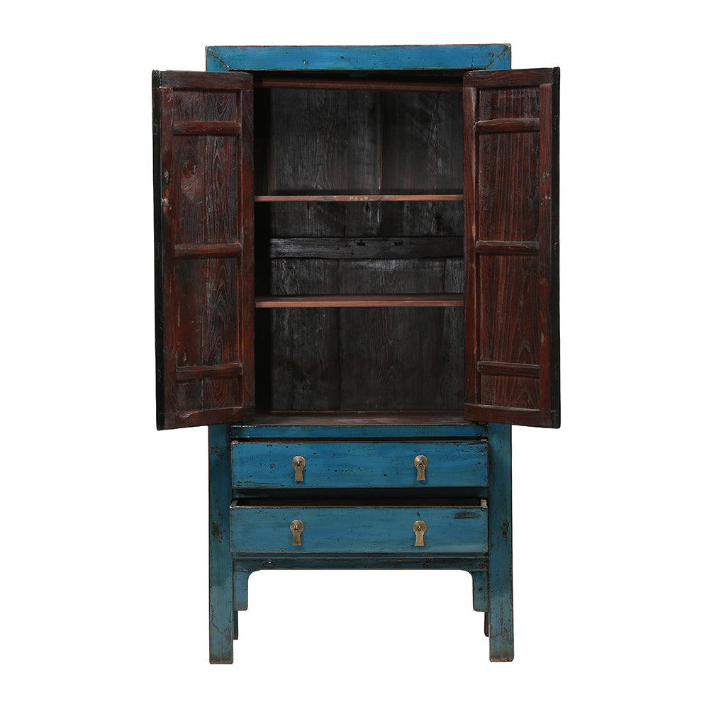 Blue Vintage Chinese Wardrobe from Shandong - Chinese homewares- Rouge Shop antique stores London - city furniture
