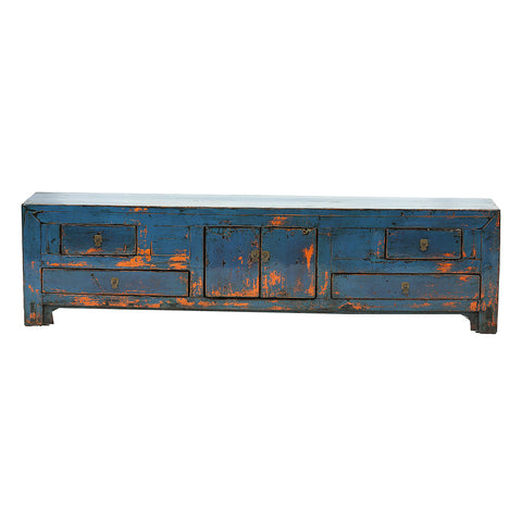 Long Low Blue Vintage Sideboard from Gansu - Chinese homewares- Rouge Shop antique stores London - city furniture