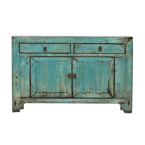 Aquamarine Vintage Chinese Sideboard from Gansu