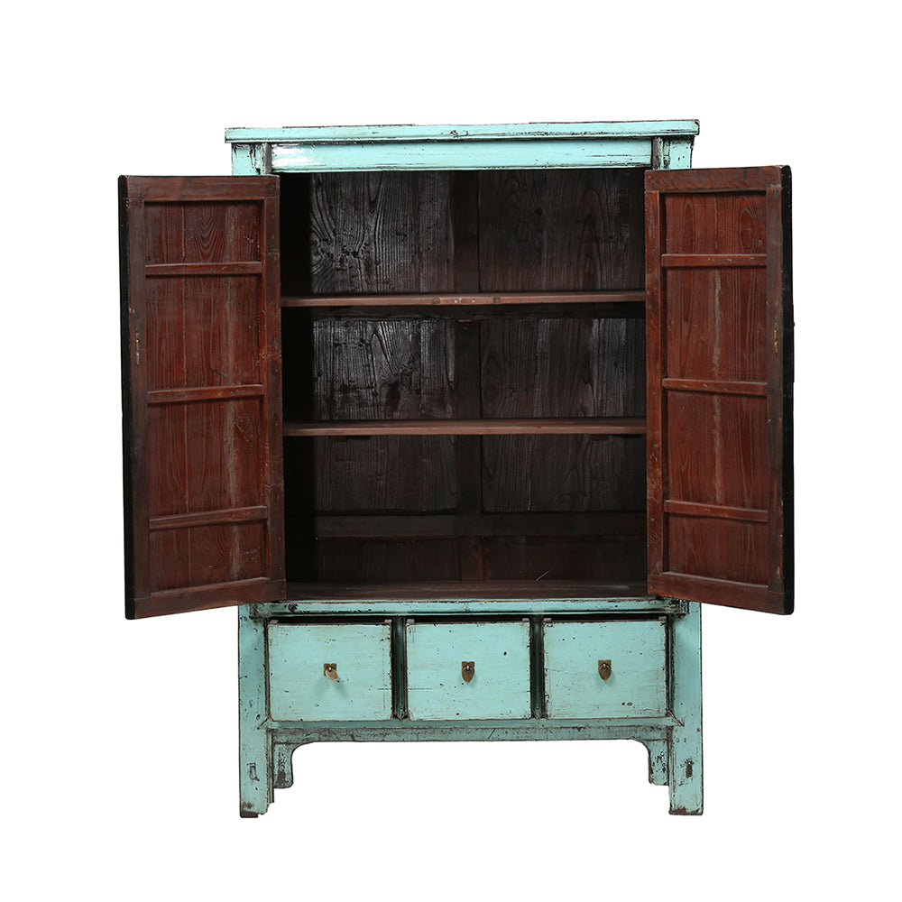 Aquamarine Vintage Chinese Linen Cabinet from Shanxi - Chinese homewares- Rouge Shop antique stores London - city furniture