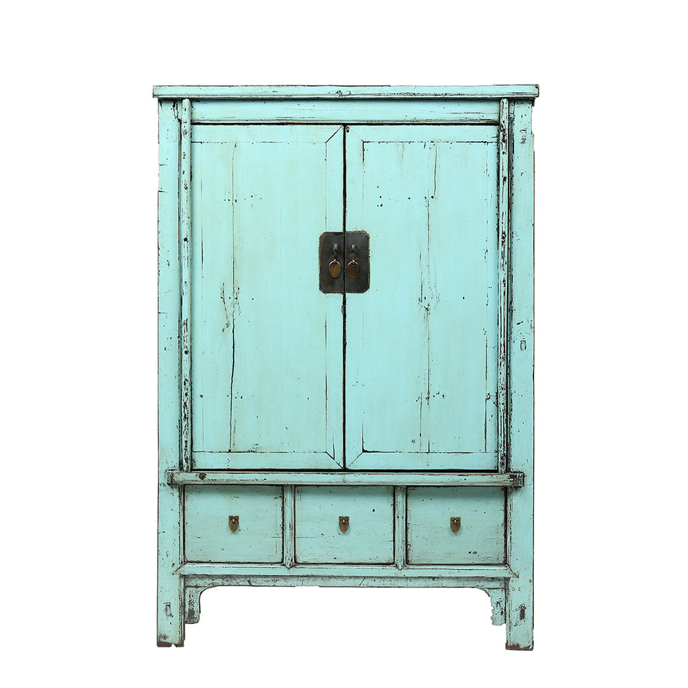 Aquamarine Vintage Chinese Linen Cabinet from Shanxi - Chinese homewares-  Rouge Shop antique stores London - Aquamarine Vintage Chinese Linen Cabinet From Shanxi Rouge