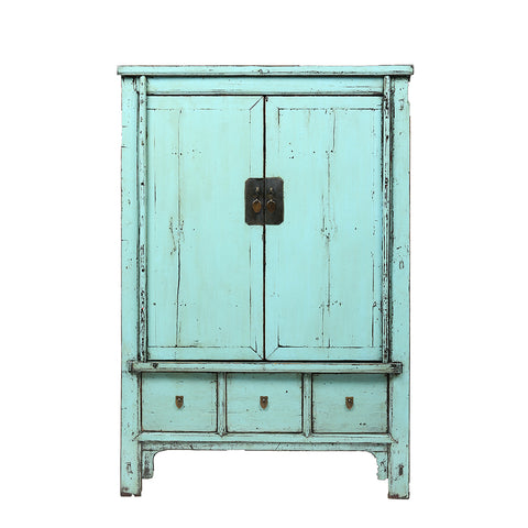 Aquamarine Vintage Chinese Linen Cabinet from Shanxi
