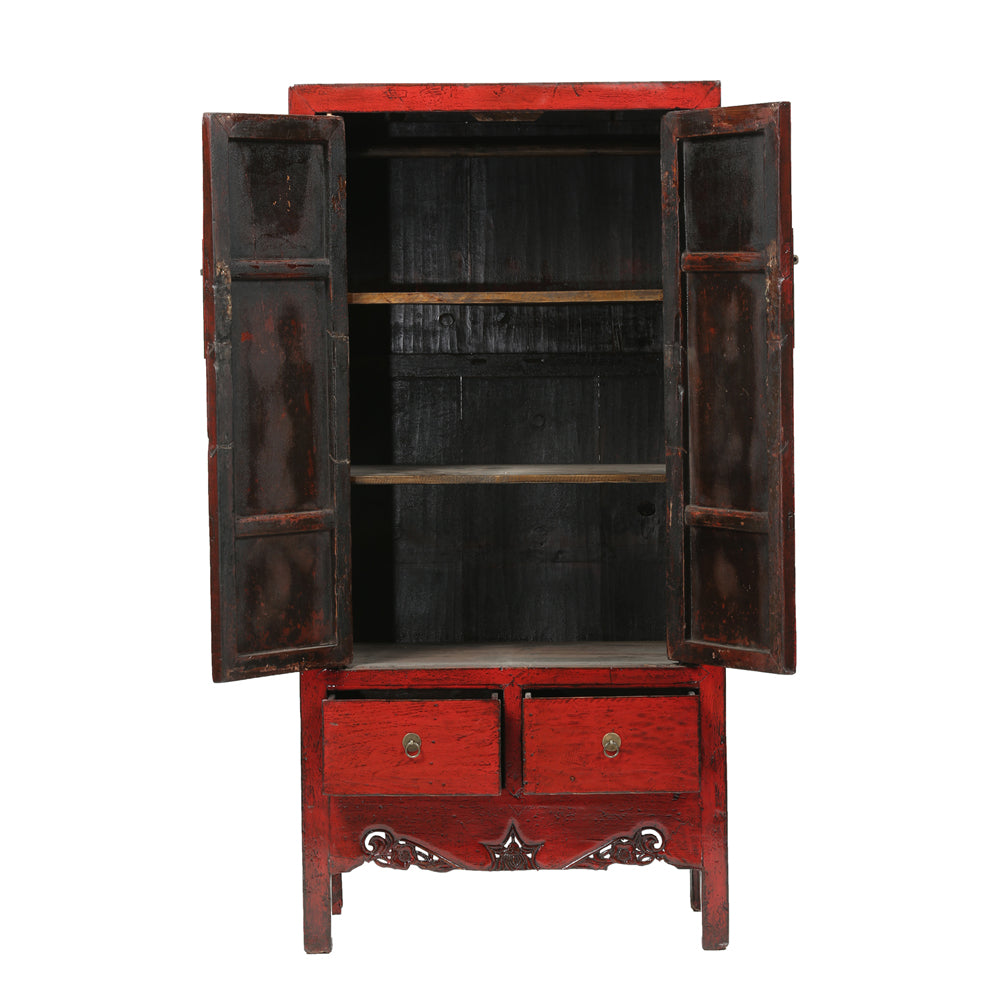 Red Vintage Chinese Wardrobe from Shanxi