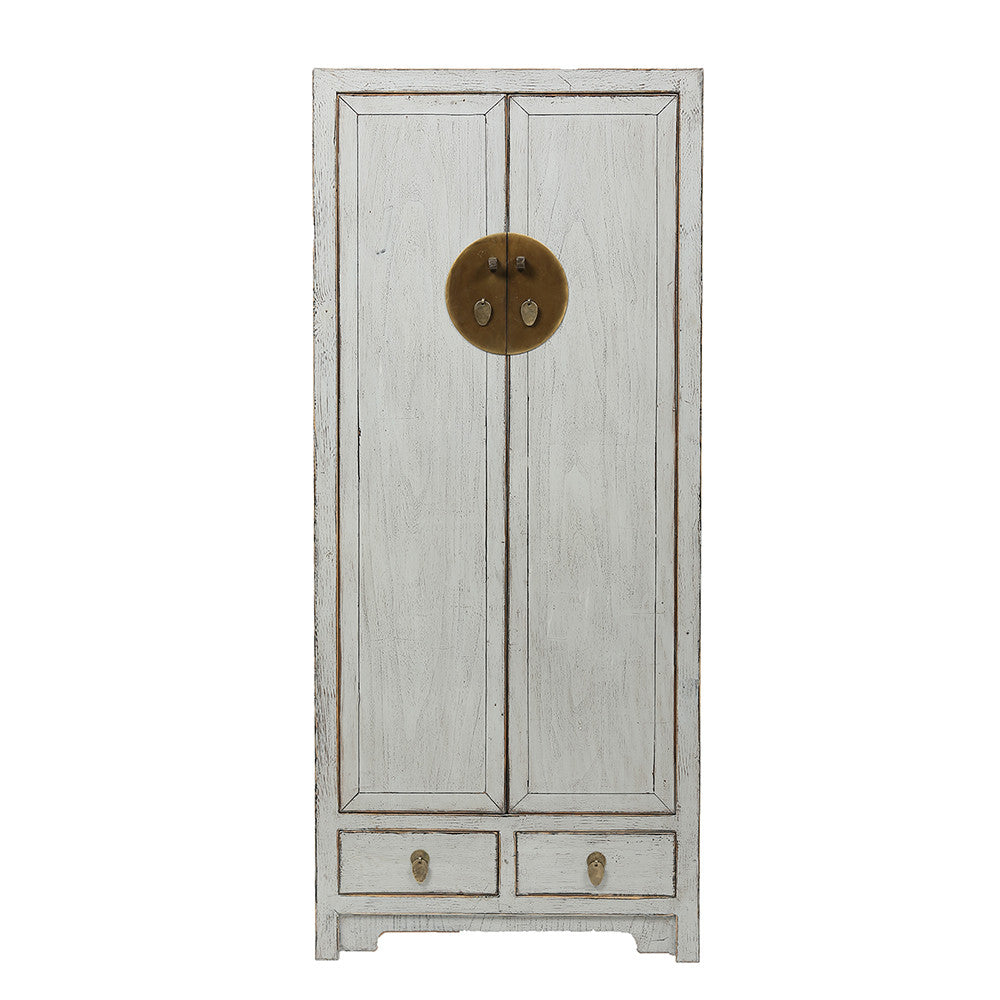 Contemporary Tall Grey Chinese Cabinet