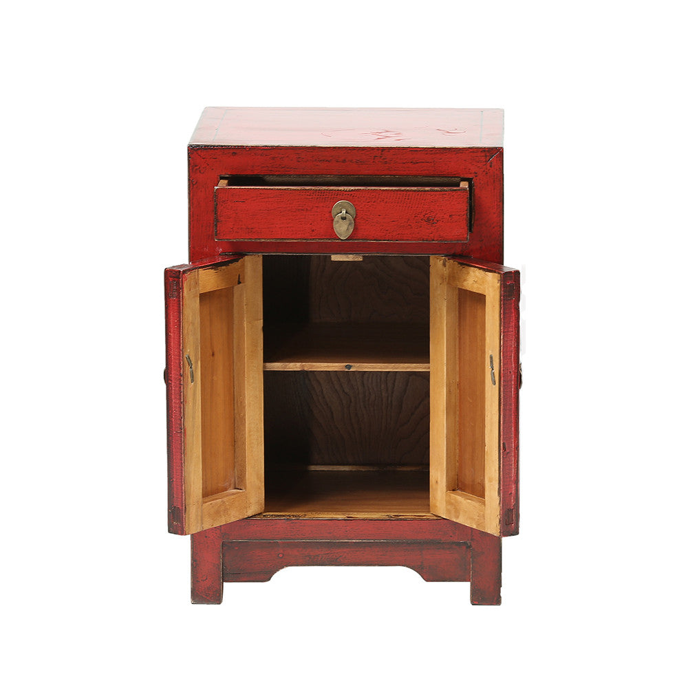 Red Chinese Bedside Cabinet - Chinese homewares- Rouge Shop antique stores London - city furniture