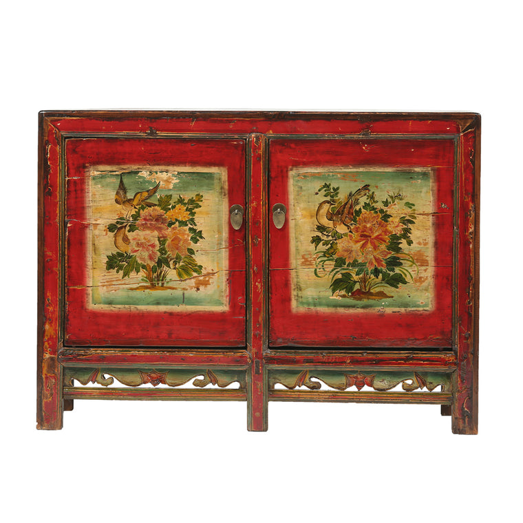 Vintage Sideboard from Gansu with Floral and Bird Motifs