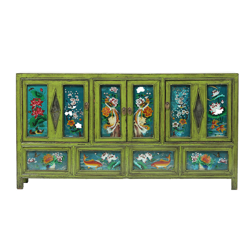 Vintage Dongbei Sideboard with Painted Glass Panels