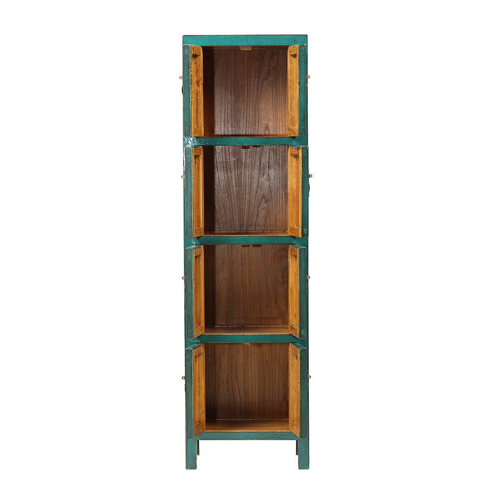 Turquoise Slim Tall Chinese Cabinet