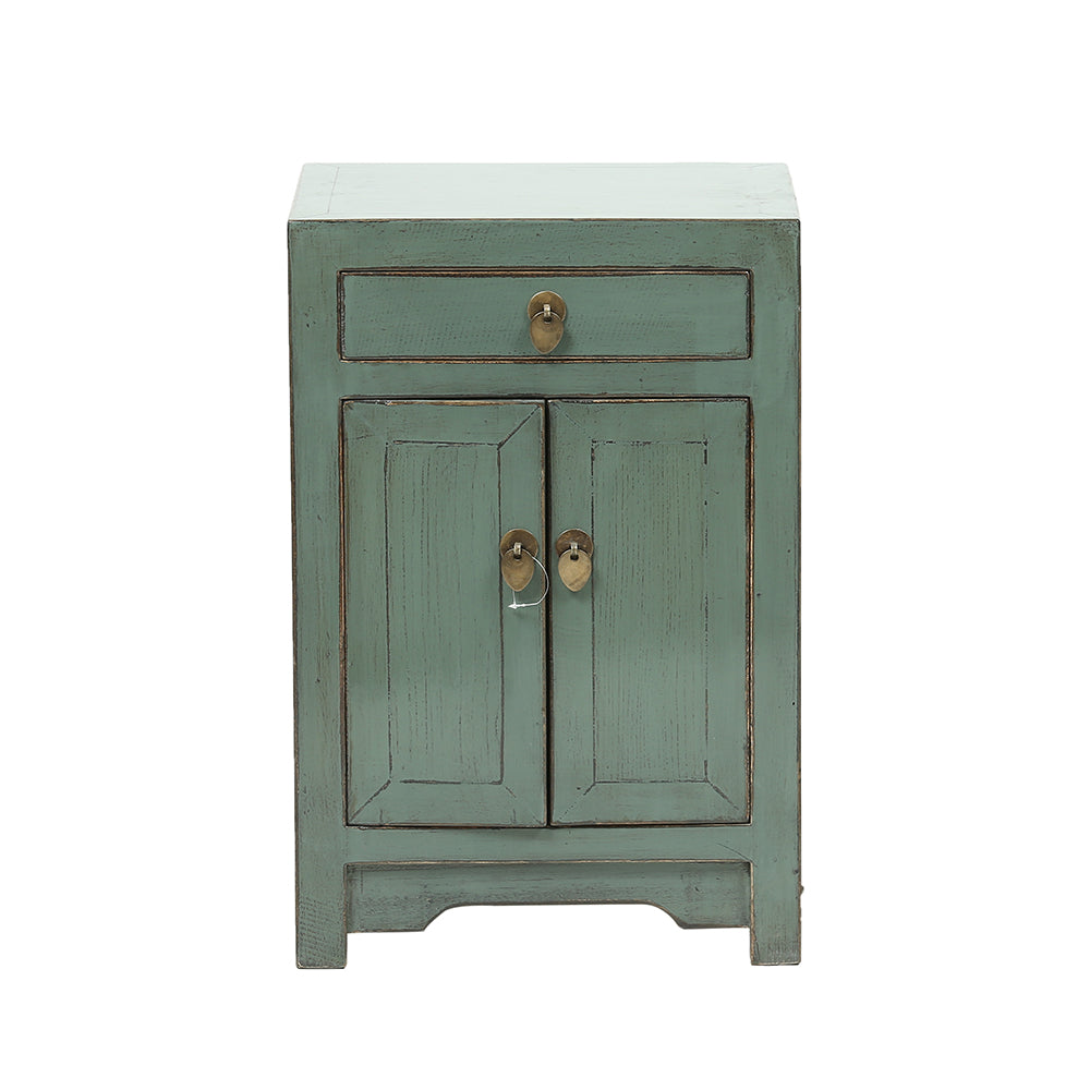 Grey/Green Chinese Bedside Cabinet
