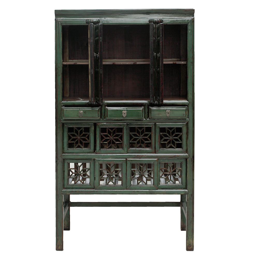 Vintage Chinese Fretwork Kitchen Cabinet in Green