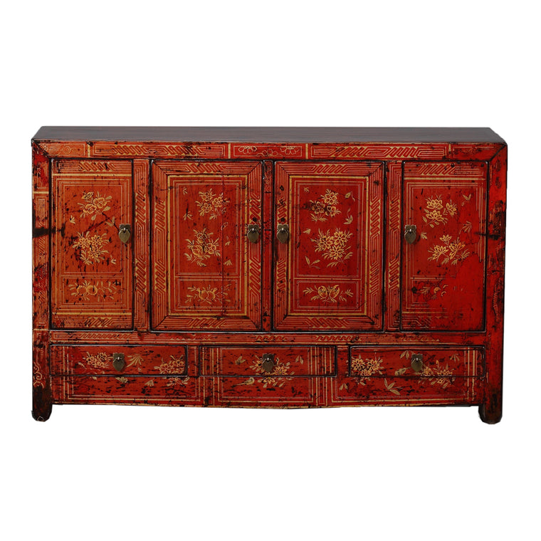 Vintage Dongbei Sideboard with Flowers Fruit Birds & Butterflies