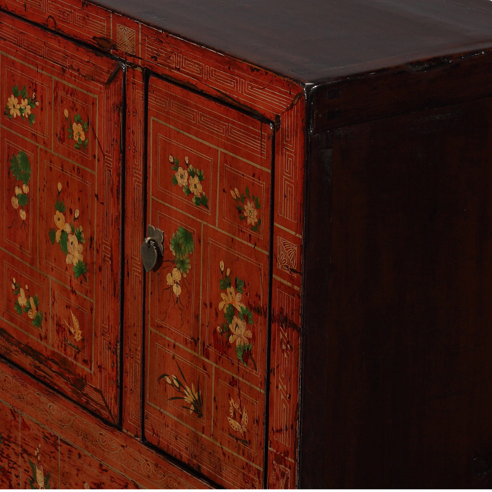 Vintage Sideboard from Dongbei with Flowers and Butterflies