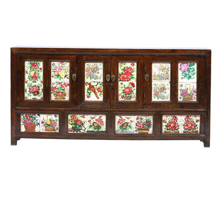 Vintage Tile Fronted Chinese Sideboard from Shanxi