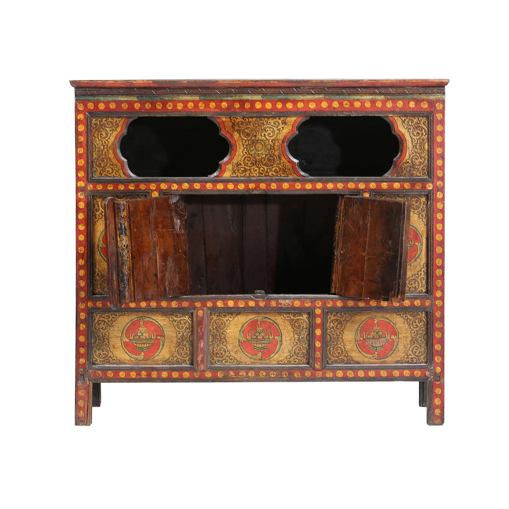 Vintage Painted Cabinet from Tibet