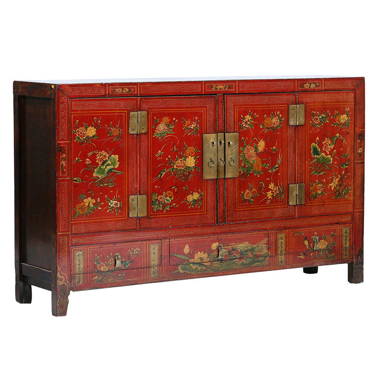 Vintage Red Sideboard from Gansu