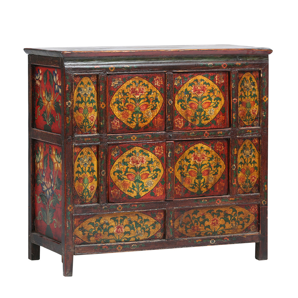Vintage Painted Four-Door Cabinet from Tibet