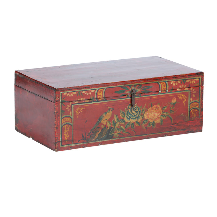 Vintage Chest from Shanxi with Bird and Peonies