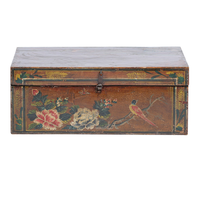 Vintage Chest from Shanxi with Peonies Bird and Bee