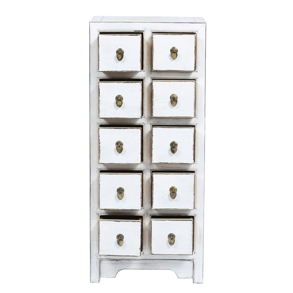 White Chinese Medicine Chest of Drawers