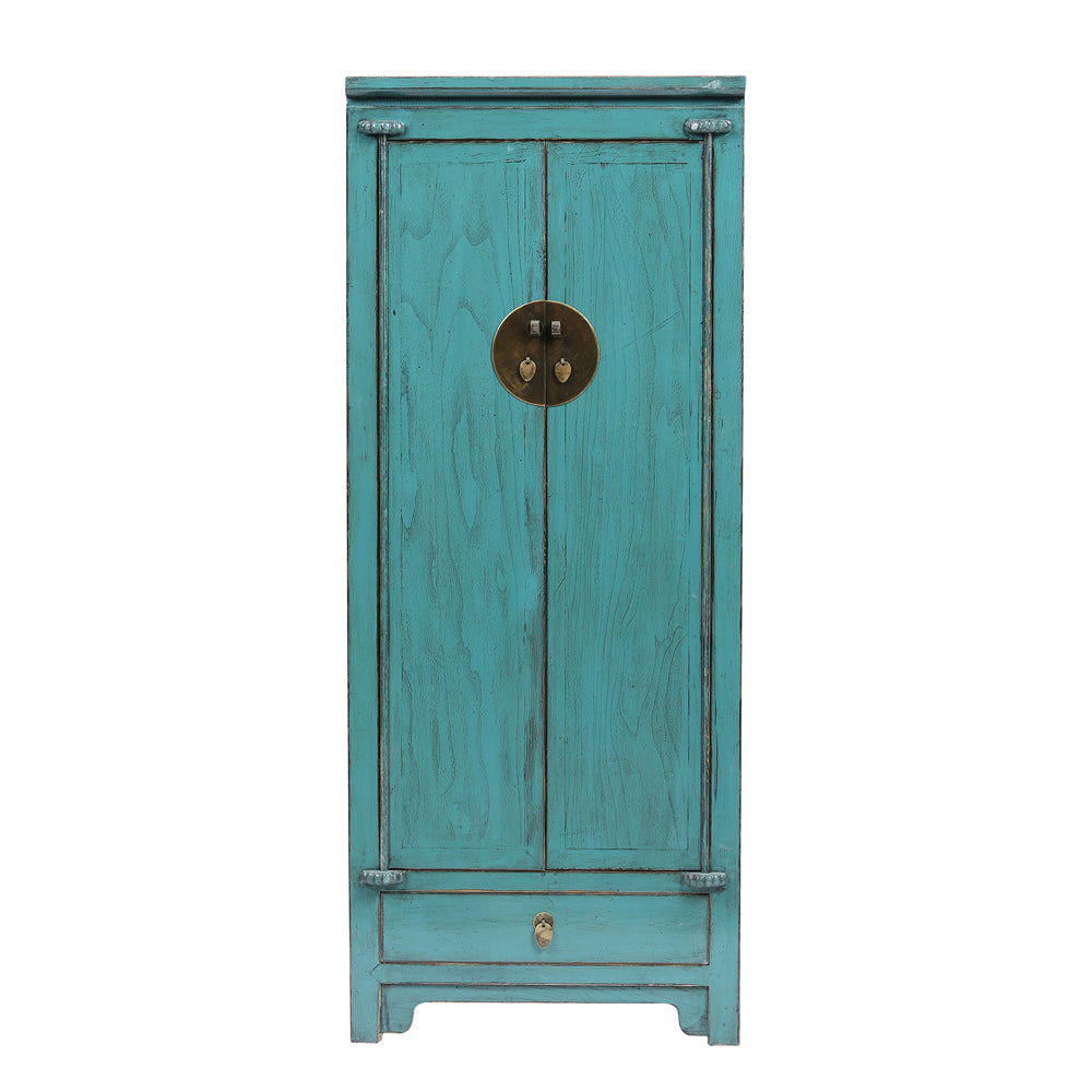 Tall Chinese Teal Cabinet