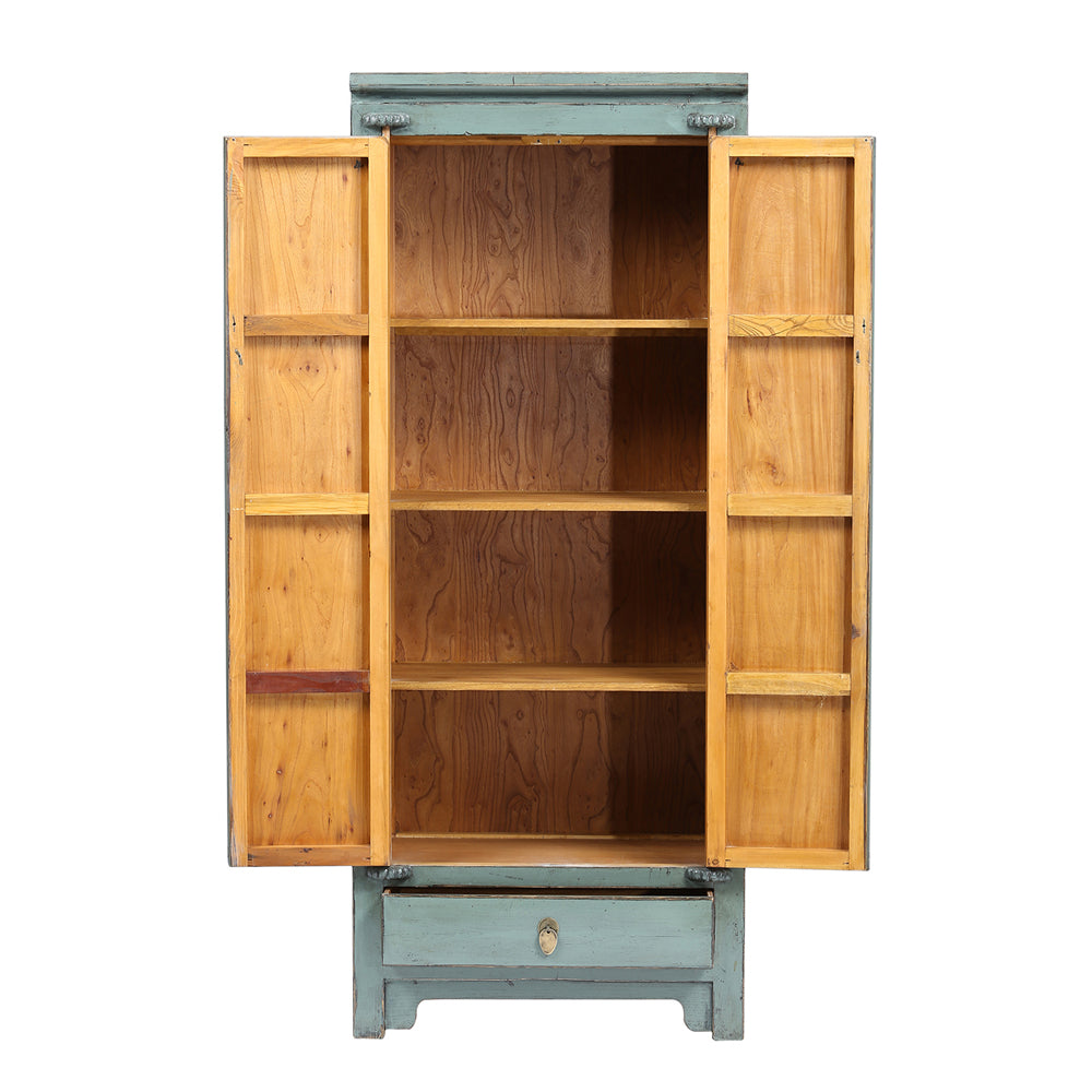 Tall Grey Chinese Cabinet
