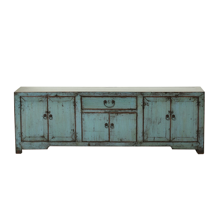Vintage Chinese Jade Green Low Sideboard from Shandong