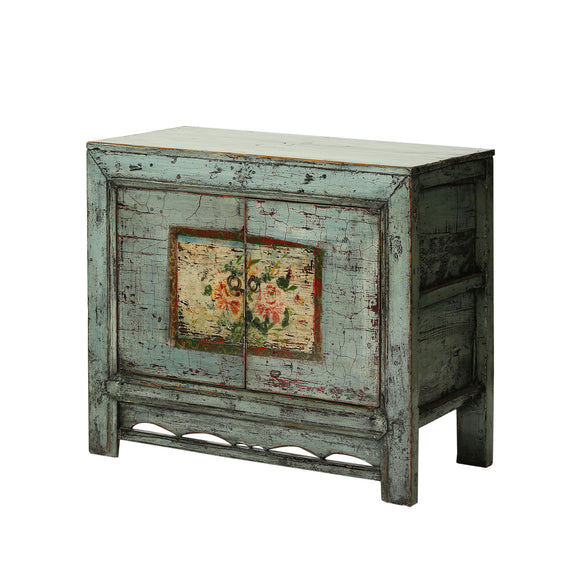 Vintage Chinese Cabinet with Faded Peony Flowers Gansu