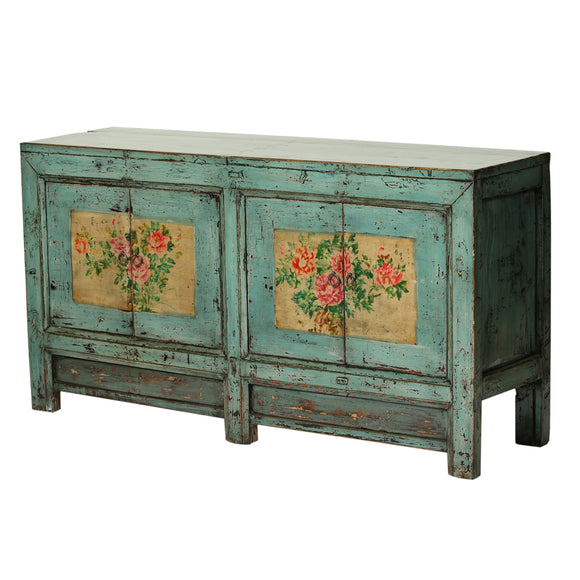 Turquoise Vintage Sideboard from Gansu with Painted Peonies