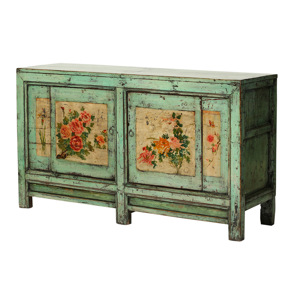 Vintage Pale Green Sideboard from Gansu