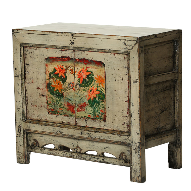 Vintage Cabinet from Gansu with Orange Lotus Flowers