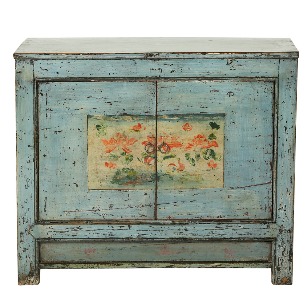 Vintage Cabinet from Gansu with Faded Lotus Flowers