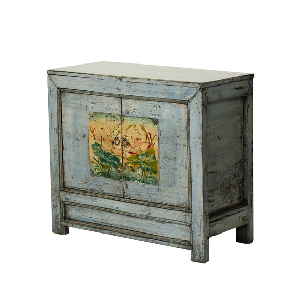 Vintage Chinese  Pale Blue Cabinet with Faded Lotus from Gansu
