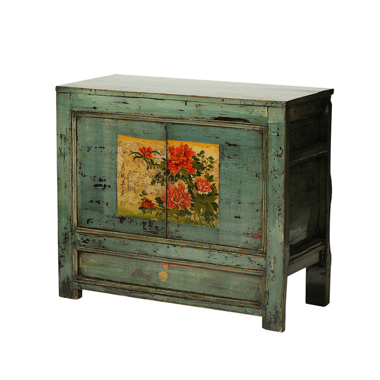 Vintage Sea Green Cabinet from Gansu with Painted Peonies - Chinese homewares- Rouge Shop antique stores London - city furniture