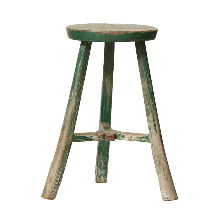 Green Chinese Vintage Poplar Stool from Shanxi