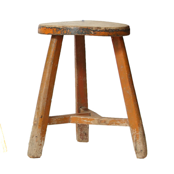 Orange Chinese Vintage Stool from Shanxi