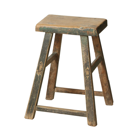 Rustic Elm Chinese Stool from Shanxi