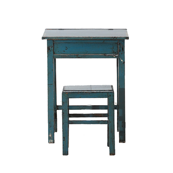 Vintage Blue School Desk and Stool from Shandong