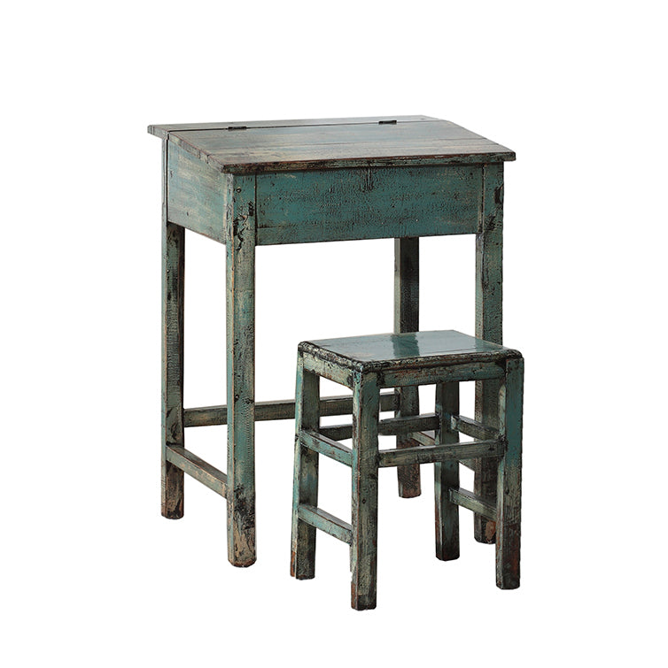 Vintage Faded Blue School Desk and Stool from Shandong
