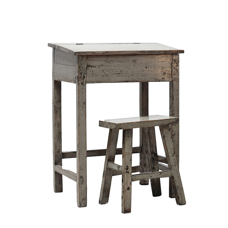 Vintage Grey/Green School Desk and Stool from Shandong
