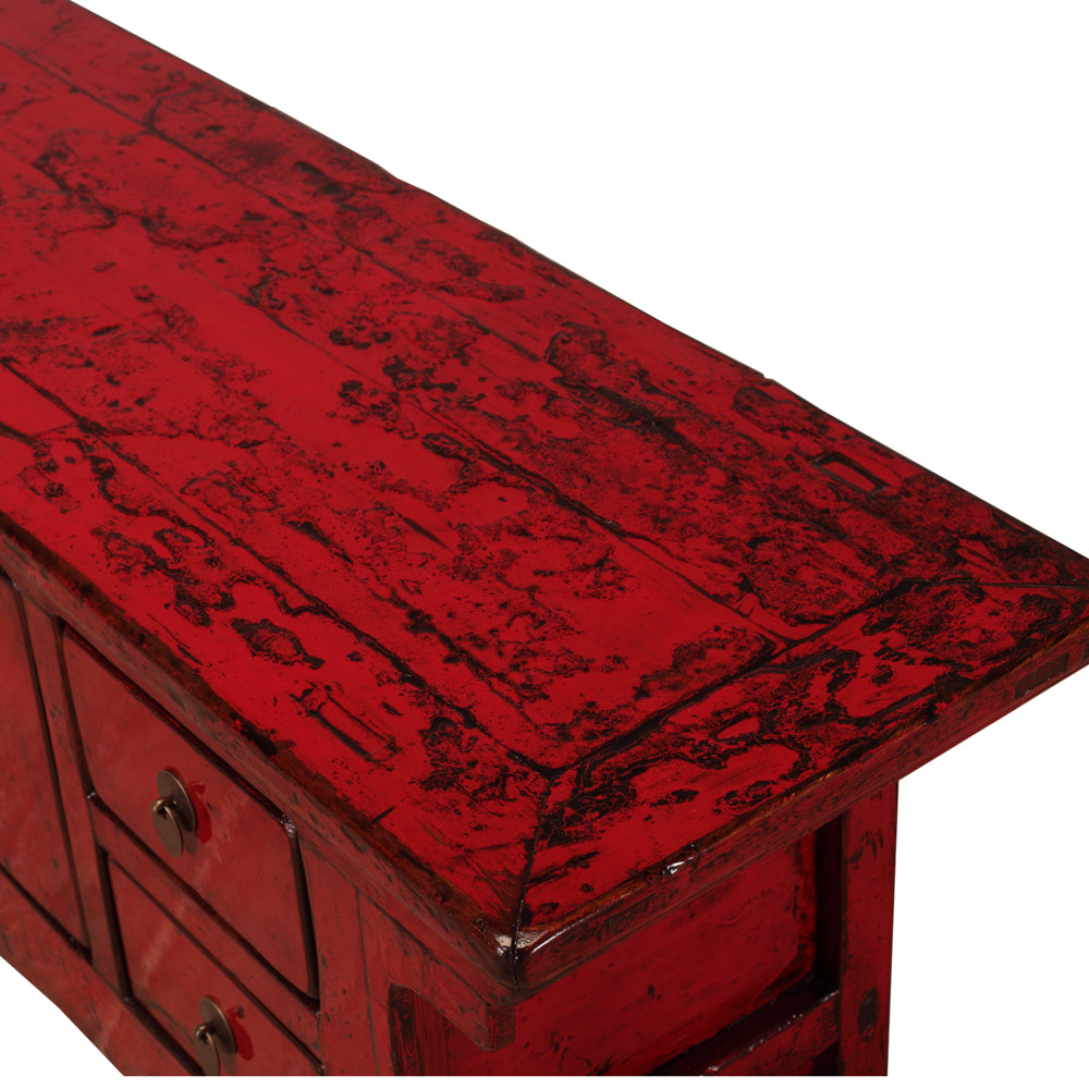 Vintage Red Cabinet from Gansu with Pedestal Top