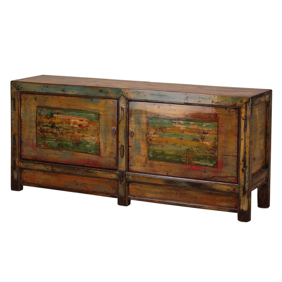 Vintage Pine Sideboard from Gansu with Faded Paintings