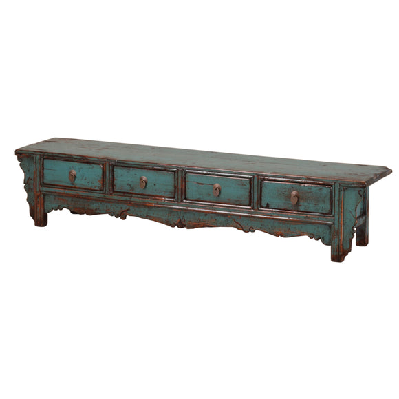 Long Low Vintage Teal Cabinet from Gansu