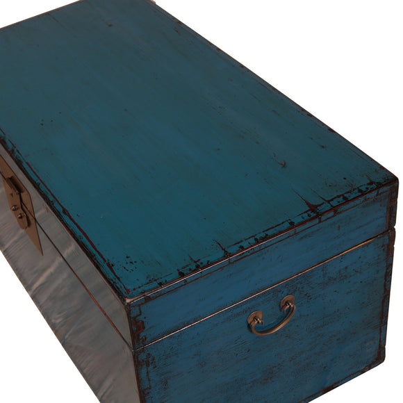 Vintage Dark Blue Chinese Camphor Chest from Beijing