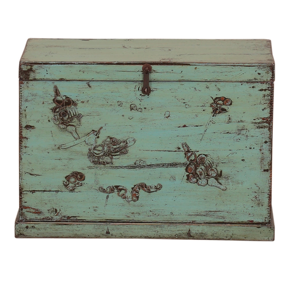 Vintage Teal Chinese Trunk from Gansu