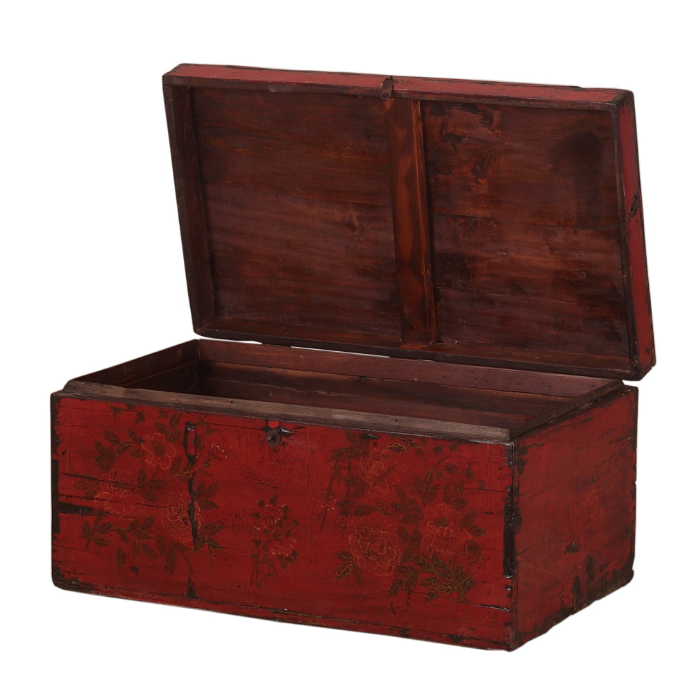 Vintage Deep Red Chinese Chest from Gansu - Chinese homewares- Rouge Shop antique stores London - city furniture