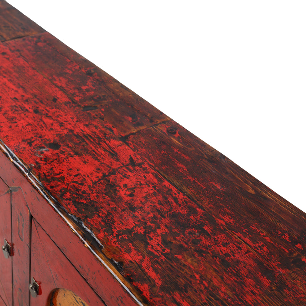 Vintage Red and Yellow Pine Sideboard from Gansu