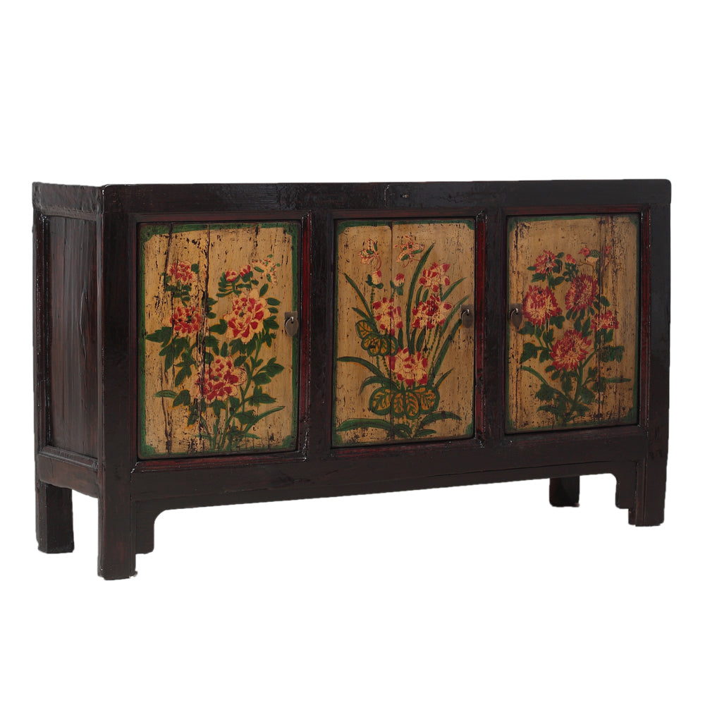 Vintage Cabinet from Gansu with Painted Floral Motifs - Chinese homewares- Rouge Shop antique stores London - city furniture