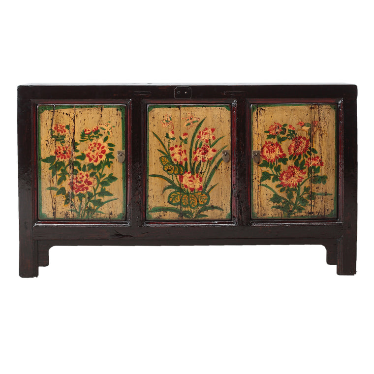Vintage Cabinet from Gansu with Painted Floral Motifs