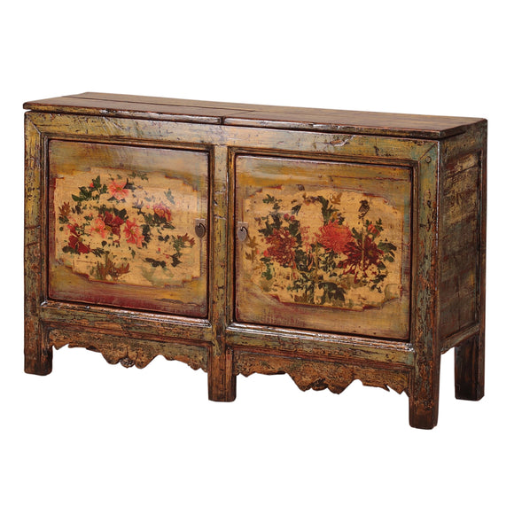 Vintage Chinese Cabinet from Gansu with Floral Motifs