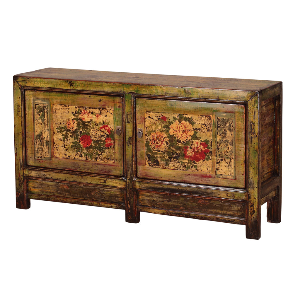 Vintage Sideboard from Gansu with Painted Peonies